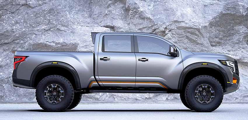 На фото Nissan Titan Warrior concept вид сбоку Ниссан Титан Варриор (Воин)