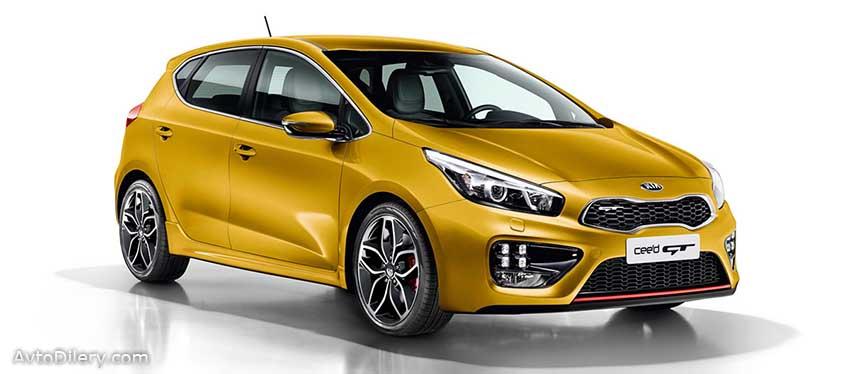 КИА Сид ГТ - комплектации и цены - на фото авто желтого цвета KIA Ceed GT