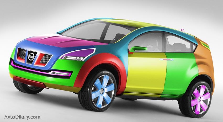 Популярные цвета автомобиля - на фото разноцветный Ниссан